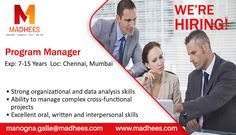 #Job requirement: #ProgramManager with 7-15 Years experience. Candidates can share the resume on manogna.galle@madhees.com