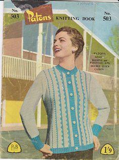 On Sale  Vintage 1950s   Paton's Knitting by jennylouvintage