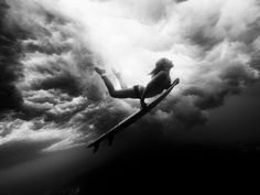 underwater, woman surfing,  black and white photography, photography,