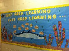 Beginning of the school year bulletin board. Nemo theme: Welcome To First Grade!  Then students could make their own nemo handprint fish.