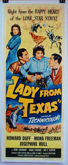 """1951 The Lady From Texas Original 14x36"""" Linen Mounted Movie Poster Howard Duff.."""
