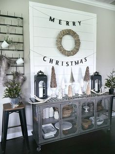 DIY Shiplap Display Wall Decorated For Christmas
