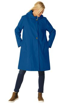 Plus Size Packable water-resistant hooded raincoat with zip bag