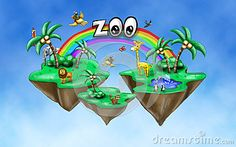 Illustration with wild animals in the zoo