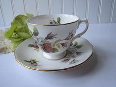 Vintage Royal Vale/Ridgway Bone China Pink Gray Rose by jenscloset, etsy