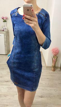 Džínsové šaty s vreckami