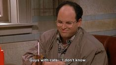 Seinfeld - George Costanza: Guys with cats - I don't know. Smileys, Seinfeld Quotes, Men With Cats, George Costanza, Funny As Hell, Tv Funny, Hilarious, Tv Show Quotes, Movie Quotes