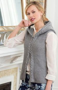Hooded Cable Vest Free Knitting Pattern from Red Heart Yarns