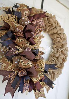 Whimsical Bow Burlap Wreath Burlap Wreath Leopard by DazzleaDoor Thanksgiving Wreaths, Autumn Wreaths, Porch Decorating, Decorating Ideas, Craft Ideas, Funky Bow, Burlap Wreaths, Do It Yourself Crafts, Trendy Tree