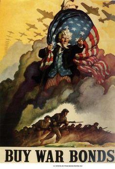 Buy War Bonds (artist: Wyeth) USA c. 1942 - Vintage Advertisement Fine Art Print, Home Wall Decor Artwork Poster) Pub Vintage, Poster Vintage, Vintage Art, Style Vintage, Vintage Images, Military Art, Military History, Military Service, Canvas Art