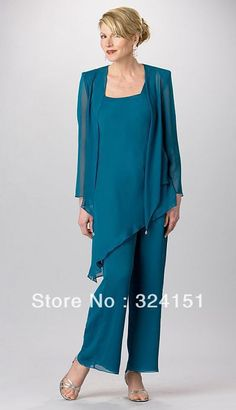 Fashion Plus Size Custom Made Chiffon Mother Of the Bride Pant Suits Set 3 Pieces With tunic Jacket And Pants   US $135.00