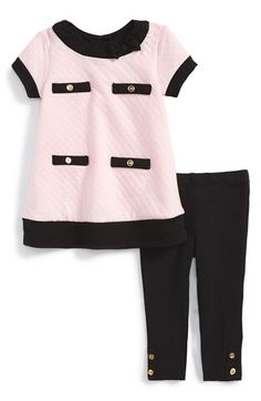 Little Me Quilted Short Sleeve Dress & Leggings (Baby Girls) available at #Nordstrom