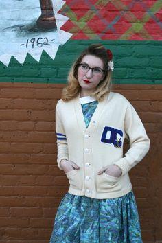 Vintage 1960s Collegiate Varsity Letterman Sweater by MoonRiverMercantile, $110.00