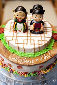 Amazing traditional Korean wedding cake. Caroline & Philip: Handmade Folly Beach Wedding