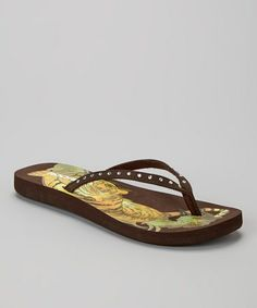 5d3b6faa001595 Cute flip flops on sale..yes please! found on  zulily! Brown