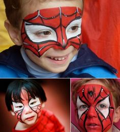 Amazing Spiderman face mask makeup for a boy - Activities for children, easy crafts and Spiderman face mask makeup for . Spiderman Makeup, Spiderman Face, Amazing Spiderman, Face Painting Designs, Paint Designs, Body Painting, Kids Makeup, Makeup Art, Artistic Make Up