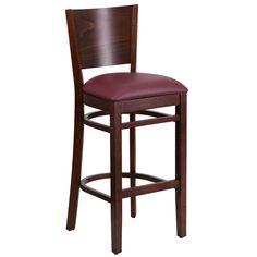 Flash Furniture Lacey Series Solid Back Walnut Wooden Restaurant Barstool - Burgundy Vinyl Seat [XU-DG-W0094BAR-WAL-BURV-GG]