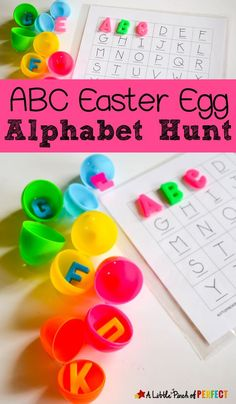 ABC Easter Egg Alphabet Hunt for Kids: Send kids on an Easter Egg hunt to help them learn their letters. It's amazing how motivating a little plastic egg can be! Includes free printable mat (Preschool, Kindergarten, Toddler) by flora Toddler Learning Activities, Spring Activities, Alphabet Activities, Fun Learning, Preschool Activities, Preschool Kindergarten, Easter Activities For Kids, Preschool Easter Crafts, Easter Games
