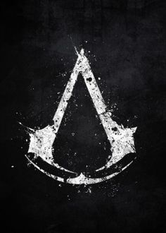 assassins creed video game logo emblem splat splatter symbol animus abstergo white black assassin ezio