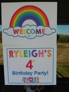 Welcome sign at a My Little Pony birthday party! See more party planning ideas at CatchMyParty.com!