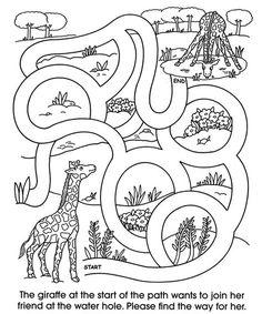 Animal Coloring Games for Kids New Wel E to Dover Publications Zoo Animal Mazes Preschool Worksheets, Preschool Learning, Kindergarten Activities, Coloring Games For Kids, Mazes For Kids, Printable Mazes, Free Printables, Le Zoo, Maze Worksheet