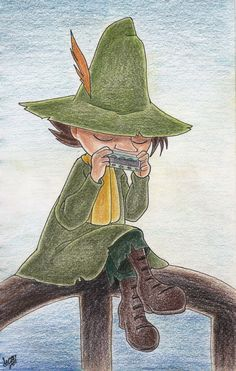 Snufkin playing his hermonica by atETemIaGArE on DeviantArt Cute Wallpaper Backgrounds, Cute Wallpapers, Moomin Wallpaper, Tove Jansson, Bus Art, Moomin Valley, Stencil Art, Photo Wall Collage, Colorful Pictures