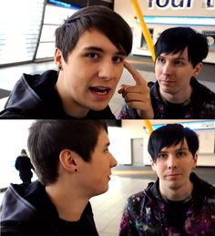 "Dan is like ""Don't touch my hair Phil. Why did you touch my hair?!"" and Phil is like ""I didn't touch your hair Dan I have no idea what you are talking about"""