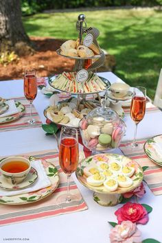 Picnic tea party for easter! Host your own simple Afternoon Tea party with this delicious High Tea menu featuring cucumber sandwiches and deviled eggs from Lia Griffith. High Tea Menu, High Tea Food, Afternoon Tea Parties, Afternoon Tea Menu Ideas, Afternoon Tea Wedding, Garden Tea Parties, Afternoon Tea Table Setting, Tea Party Birthday, Elmo Party