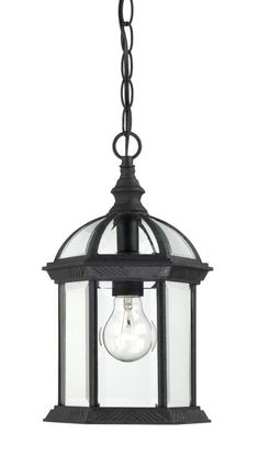 Nuvo Lighting 60 4979 Boxwood Single Light Hanging Lantern With Clear Beveled Gl Textured