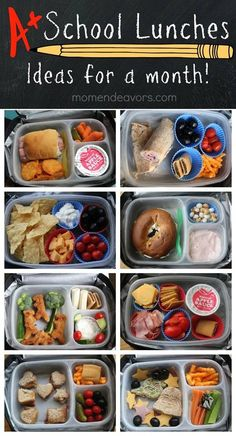 http://www.momendeavors.com/2013/08/a-month-of-kid-approved-school-lunches-easy-creative-ideas.html
