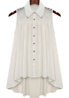 White Sleeveless Metal Tip Collar Lace Pleated Blouse,SHEIN White Sleeveless Metal Tip Collar Lace Pleated Blouse Kurti Designs Party Wear, Kurta Designs, Blouse Designs, Stylish Dresses, Simple Dresses, Casual Dresses, Frock Fashion, Fashion Dresses, Fashion Clothes