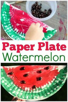 Paper Plate Watermelon - Letter W Craft for preschoolers and toddlers - Happy Hooligans