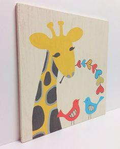 Hand Painted Whimsical Giraffe Nursery Art on Wood, Bird Wall Art, Kids Wood Sign, Giraffe Nursery, Bird Art, Heart Decor, Wood Wall Art