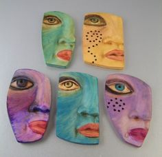 Polymer Clay Painted Faces Reserved for Wendy by kimcavender, $140.00