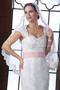 """#87038 - One Tier 35"""" Beaded Lace Edge Veil - Veils - Wedding Accessories - Simply Bridal"""