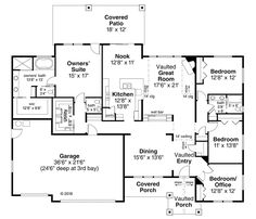 House Plan 41318 - Craftsman, Ranch Style House Plan with 2708 Sq Ft, 4 Bed, 3 Bath, 3 Car Garage Four Bedroom House Plans, Open House Plans, Simple House Plans, Cabin Floor Plans, Best House Plans, Country House Plans, Ranch Style Floor Plans, Ranch House Plans, Drummond House Plans