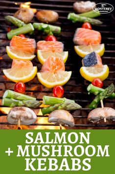Grilled salmon gets elevated in these salmon kebabs! Load up skewers with your salmon, baby bella mushrooms, asparagus, lemon, and grape tomatoes. This healthy salmon recipe is sure to be a favorite quick dinner in your family! Pork Rib Recipes, Kebab Recipes, Grilling Recipes, Seafood Recipes, Game Recipes, Best Mushroom Recipe, Mushroom Recipes, Healthy Salmon Recipes, Healthy Dinner Recipes