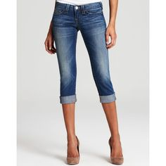True Religion Jeans - Lizzy Crop Jeans In Short Fuse Wash ($158) ❤ liked on Polyvore featuring jeans, pants, bottoms, capris, shorts, frayed jeans, 5 pocket jeans, cropped capris, true religion capris and true religion jeans