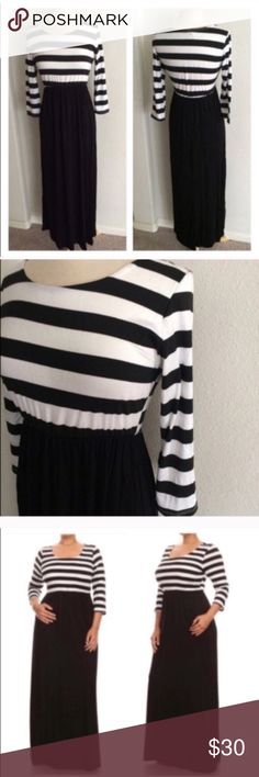 """Striped maxi dress *runs one size small Striped maxi dress. Rayon/ spandex combo with an elastic waist. Juniors sizing- would fit an L best XL: L 59"""" B 38"""" ⭐️This item is brand new without tags 💲Price is firm unless bundled ✅Bundle offers Availability: XL• 2 Dresses Maxi"""
