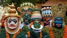 Kummattikali is a dance of Kerala. During the festival of Onam, Kummattikali performers move from house to house. Original form of Kummattikali can be seen in the Bhadrakali temple in Palghat district.     The costumes are an  interesting facet of Kummattikali. The dancers don a heavily painted colourful wooden mask depicting faces of Krishna, Narada, Kiratha, Darika, or hunters. These masks are usually made out of saprophyte, jack fruit tree, Alstonia scholaris, Hog Plum tree or the Coral…