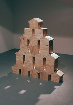 artwork by Henry Higginbotham titled Untitled Art Houses, Mini Houses, Building Icon, Triangle Square, Miniature Houses, Miniture Things, Wooden Houses, Wooden Toys, Little Houses