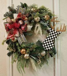 Christmas Wreath, Deer Head Wreath, Rustic Holiday Wreath, Christmas Decor, Holiday Decor, Deer Head Decor, Evergreen Wreath, Christmas by SouthTXCreations on Etsy