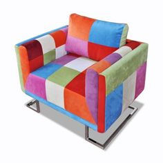 #TomTop - #TomTop Armchair Cube Patchwork With chrome legs - AdoreWe.com