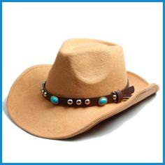 Buy Men Women Wool Felt Sombrero Cap Fedora Hat Western Cowboy Cowgirl Cap  Jazz hat Sun Hat Toca Cap with leather band b7efb668e7f
