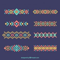 Set of ethnic ornaments in flat design Free Vector thaipattern Embroidery Stitches, Embroidery Patterns, Hand Embroidery, Cross Stitch Patterns, Hungarian Embroidery, Flat Design, Web Design, Design Plat, Pattern Art