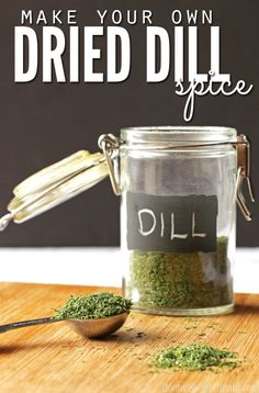 tutorial for dehydrating dill. Tutorial includes how to dehydrate dill using an oven, microwave, a toaster oven, or dehydrator. Dill Recipes, Canning Recipes, Real Food Recipes, Canning Tips, Recipies, Jar Recipes, Freezer Recipes, Freezer Cooking, Oven Recipes
