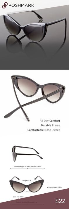9878530f9b New Black Slim Cat Eye Sunglasses New Classic Retro Vintage Black Cateye  Sunglasses. Step Out in Style in the trendy cat eye glasses. New in pkg.