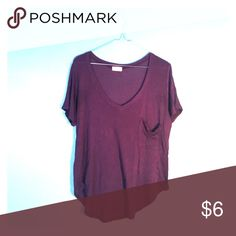 Purple Flowy V-Neck Tee with Front Pocket Flowy, dark purple v-neck top with front pocket. Very soft & comfortable. Casual and cute! Wet Seal Tops Tees - Short Sleeve