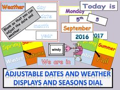 Daily Adjustable Calendar and Weather Pictures : Days, Dates, Months, Year, Seasons