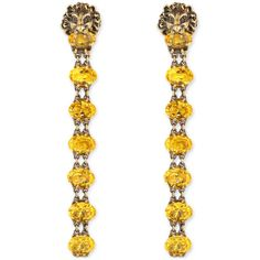 Gucci Lion Head Earrings With Crystals (11 410 SEK) ❤ liked on Polyvore featuring jewelry, earrings, accessories, gucci, fashion jewellery, jewellery & watches, gucci jewelry, lion head earrings, gucci jewellery and yellow earrings